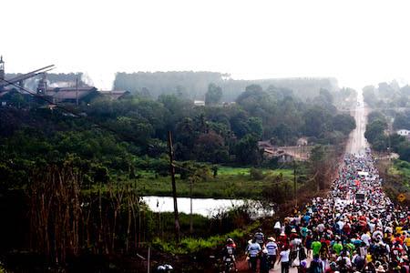 População de Piquia de baixo, durante uma marcha de protesto