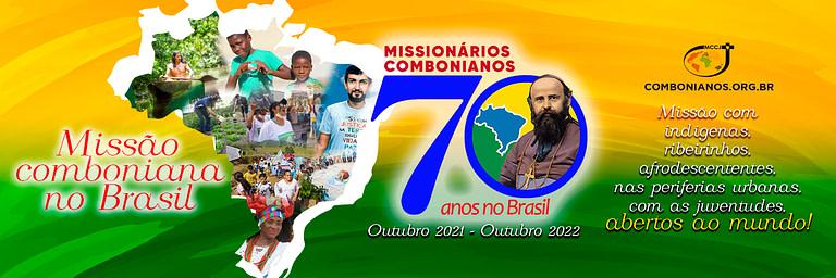 Logo e mapa do Brasil, celebrando com o rosto do povo os 70 anos de presença comboniana no Brasil