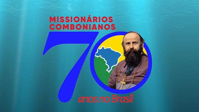logomarca dos 70 anos de presença dos missionarios combonianos no brasill, incluindo mapa, cores da bandeira e foro do fundador, são Daniel Comboni