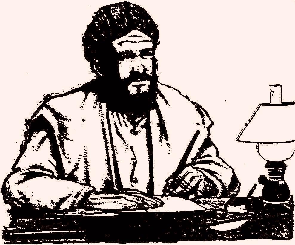 desenho de São daniel comboni, de turbante, sentado à secretária escrevendo